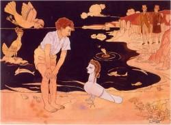 63 Jeune garçon avec les sirènes sur la plage aqu1963137.jpg